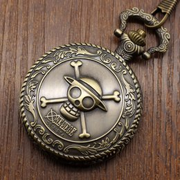 Wholesale Pocket Watch Fob Chain - Wholesale-Cool Bronze ONE PIECE Pocket Watch Skull Bone Quartz Fob Watch With Chain Gift For Christmas Birthday New Year Free Shipping
