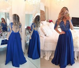 Wholesale Gold Mesh Ribbon - 2017 Royal Blue Prom Party Dresses Cheap Chiffon A Line Sheer Jewel with Long Sleeves Lace Pearls Mesh Back Floor Length Evening Gowns