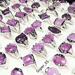 Discount amethyst stone jewelry sets - Fashion Natural Amethyst Stone Silver Plated Rings For Women Fashion Bezel Setting Whole Jewelry Bulk Ring Lots LR022 Free Shipping