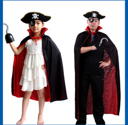 Wholesale Red Pirate Dress - Dressing UP Adult Costume + Eye blinder+Pirate hats Costume Cosplay For Halloween Party Red BlackClothing Selection Product Code 96-1049