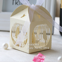 Wholesale Wholesale Wedding Bird Cages - 100pcs lot free shipping laser cutting Birds in Cage Design paper candy chocolate snack boxes for wedding birthday party decoration