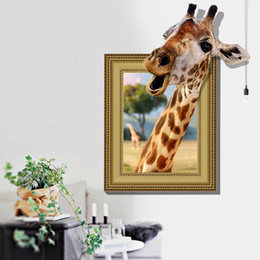 Wholesale vinyl tile stickers - 3d fake windows giraffe animals wall stickers home decoration living rooms kids bedroom nursery decals vinyl murals