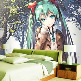Niedliche tapeten für wände online-Hatsune Miku Wallpaper Benutzerdefinierte 3D-Fototapete für Wände Anime Girls Fototapete Vocaloid Schlafzimmer Schlafsaal Schule Designer Cute Room Decor