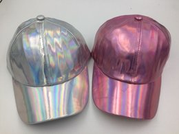 Wholesale Hiphop Leather - Laser Silver PU Leather Magic Rainbow Baseball Cap Hiphop Snapback Hat Adjustable Pink 10pcs lot Free shipping