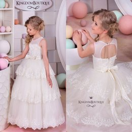 Wholesale Cheap Cupcake Dresses - Layered Cupcake Style Girls Formal Dresses 2016 Jewel Neck Ball Gown Flower Girl Dresses with Sash Cheap kids Dresses for Wedding Wear