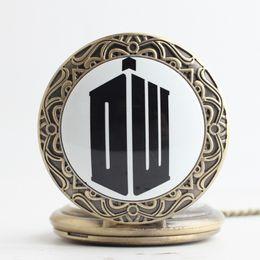 Wholesale Mini Bronze Pocket Watch - DW Doctor who TARDIS Pocket Watch Bronze dr who locket necklace mini Fob quartz Watches necklace men women child fashion jewelry gift 230171