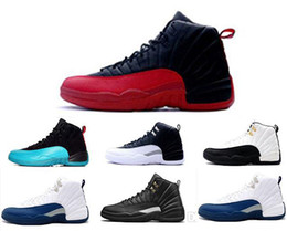 Wholesale Ocean Games - 2016 cheap air retro 12 wool XII basketball shoes ovo white Flu Game wolf grey Gym red taxi gamma french blue Suede sneaker