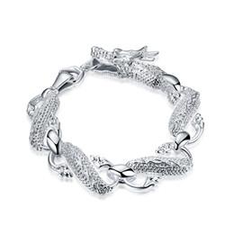 Bracciale in argento sterling 925 Bracciale in argento sterling 925 placcato gioielli di moda Big White Dragon Charms Bracciale braccialetto di amicizia da