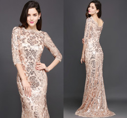 column bateau dress Coupons - Bling Sparkly Rose Gold Mermaid Formal Evening Dresses 2018 New Cheap Long Sleeves Full Sequins Lace Prom Party Gowns CPS634