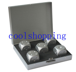Wholesale Gambling Sets - in1 silver Aluminum Alloy Drinking Game Dice Set + Portable Noble Metal Case Gambling Poker Chips Bar Party Dominoes Mens Gift