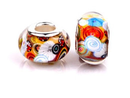Wholesale New Murano - New Arrivals Fashion Big Hole Resin Murano Glass European Charm Beads Fits Pandora Charms Bracelets & Necklace DIY Jewelry Xmas