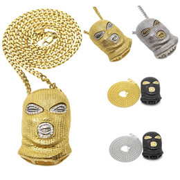 Wholesale Mens Silver Mask - Hip Hop CSGO Pendant Necklace Mens Punk Style 18K Alloy Gold Silver Plated Mask Head Charm Pendant High Quality Cuban Chain