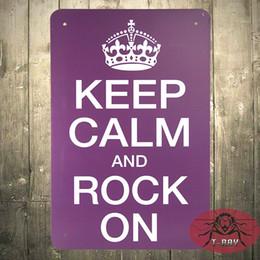 Wholesale Vinyl Aluminium - Keep Calm and Rock On Retro metal Aluminium Sign rum Christmas Gift H-105 160909#