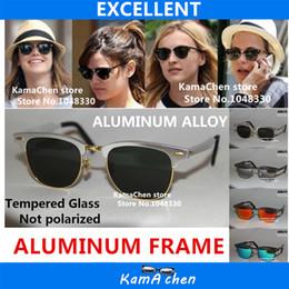 Wholesale Gold Frame Half Glasses - KaChen Aluminum alloy metal frame Red Blue Green Gold Bottle Green Lens UV400 protection sunglasses glasses men women