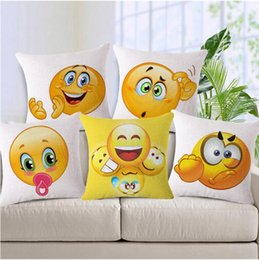 Wholesale Room Chair Covers - Emoji Pillow Case Cover Decorative Home Cotton Linen Living Room Bed Chair Seat Waist Throw Cushion Cover Bedding Pillowcases Free Shipping