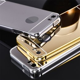 Wholesale metal cases galaxy s4 - Luxury Metal Mirror Aluminium Bumper Acrylic Case For iPhone 5S SE 6 Plus for Samsung Galaxy S4 S5 S6 S7 edge Note 4 5 LG G3 G4 V10