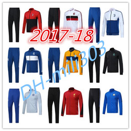 Wholesale Army Sweatshirt Xl - Top quality 2017 2018 Real Madrid soccer jacket 17 18 AC milan jackets kits HIGUAIN DBYBALA HAZARD chelsea tracksuit jacket Sweatshirt set