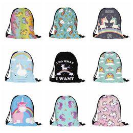Wholesale 3d Cartoon Style Shoulder Bag - 18 Styles 3D Digital Printed Unicorn Drawstring Bag Cartoon Unicorn Backpacks Travel Bags Beach Bags 38*30cm CCA7481 500pcs