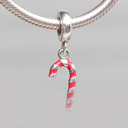 Wholesale Candy Charms For Bracelets - Authentic 925 Silver Beads Candy Cane Dangle Charm, Red Enamel For European Bracelet Bangle Diy Jewelry Gift