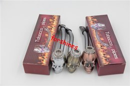 Wholesale Metal Pipes Lids - 12pcs lot free shipping to usa skull Metal Pipe herb Tobacco Smoking Pipes cigarette pipe BEST CHRISTMAS XMAS Gift Smoke pipes Stocks lid ok
