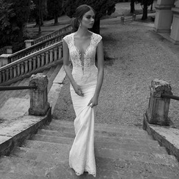 Wholesale Lace V Neck Bridal Gown - Berta Mermaid Lace Wedding Dresses 2016 With Cap Sleeves Sheer V-Neckline Illusion Back Sweep Train Princess Bridal Gowns Vestido de novia