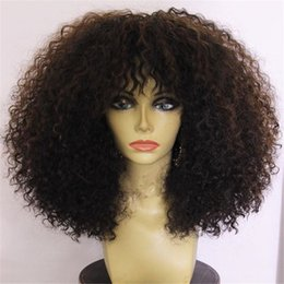 elastic lace wig Promo Codes - Brazilian Afro Kinky Curly Full Lace Human Hair Wigs For Black Women 7A Kinky Curly Lace Front Human Hair Wigs Full Lace Wigs