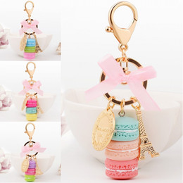Wholesale Backpack Trendy - Women Fashion Ornament Purse Backpack Macaron Cake Eiffel Tower Alloy Cute Charming Handbag Pendant Keychain Keyring Gift B784Q