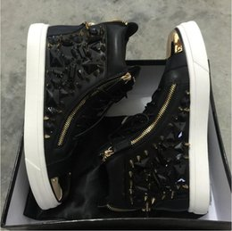 Wholesale Solid Gold Plated For Men - 2016 black leather with spikes Rhinestone high top Zanotys leisure shoes for men and women,Gold plate high quality Zanotys casual sneakers
