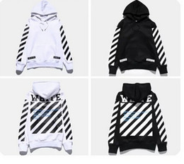 Wholesale Europe Winter Coat - New Arrival Europe America Autumn Winter Loves Pullover Off White Sweatshirt Coat Men Striped Casual All-match Hoodies