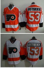 Wholesale Cheap Ice Hockey Tops - Flyers #53 Shayne Gostisbehere Hockey Jersey Top Selling Hockey Jersey Embroidered Hockey Jersey Men Hockey Uniform Cheap Hockey Wears