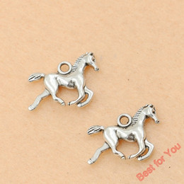 Wholesale Horses Crafts - 80pcs Antique Silver Plated Running Horse Charms Pendants For Jewelry Making Diy Craft Charm Handmade 15x20mm jewelry making