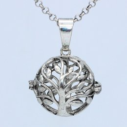 Wholesale Antique Christmas Tree - Wholesale Antique Silver Tree of Life Hollow Cage Locket Necklace For Aromatherapy Essential Oil Diffuser Openable Pendant Charms Jewelry