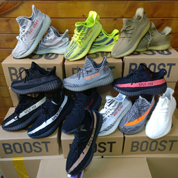 Wholesale Black Red White Shoes - 2017 Sply Boost 350 V2 Zebra Cp9654 Orange Grey Beluga 2.0 AH2203 Black Red Bred CP9652 Kanye West Running Shoes With Box