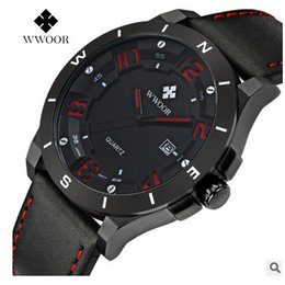 Wholesale Wholesale Watches Japan - Wwoor Brand Men's Sports Quartz Watch Hour Clock Male Casual Watch Japan Mov Leather Strap Army Military Quartz Wristwatches K4
