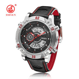 Wholesale Men Wathes - OHSEN brand digital quartz watch wristwatches mens man leather band fashion Red waterproof outdoor Man hand wathes hours Montre Homme Hombre