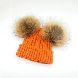 Wholesale Golf For Children - Children Winter Hat With 2pcs fur Pompoms Boy Girls Natural Fur Ball Beanie Kids Caps Double Real Fur Pom Pom Hat For Children