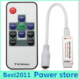 Wholesale Socket Control Power - Mini RF 12A RGB Wireless Controller DC12 24V with Power Supply Socket+10keys RF Remote Control for 5050 3528 colorful LED Strip