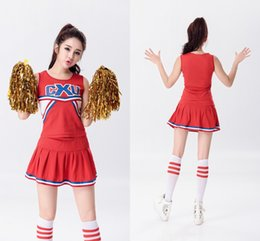 Wholesale Glee Dress - Hot Baseball Football Cheerleading Glee Costume Aerobics Clothing Uniforms for Performances Sleeveless Dress Size S M L XL XXL WY6939