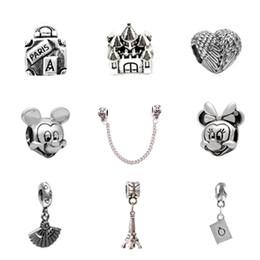 Wholesale European Fan - 10pcs Of Each Charm Bead Micky Feather Fan Castle Alloy Pendant 925 Silver Plated Fashion Women Jewelry European Style For Pandora Bracelet