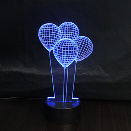 Wholesale Table Party Led Decoration - 3D Hot Air Balloon Kid Night Light Colorful Acrylic Bedroom Home Office Lighting Decoration Lamp Table Christmas gift