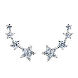 beste Geschenk echten 925 Sterling Silber Rotgold und Weißgold überzogene Ohrstecker Luxus-Mode-Sterne-Ohrringe für Mädchen entwirft von Fabrikanten