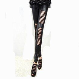 Wholesale Leggings Leather Holes - Hole in Front PU Leather legging fashion Stitching Embroidery Bundled Hollow Lace Black Leggings for Women Hot