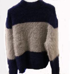 Argentina Al por mayor-azul Patchwork visón de cachemira a rayas Pullover chaqueta de punto caliente de los hombres envío gratis precio al por mayor m608 cheap blue mink jacket Suministro