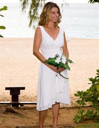 Wholesale Tea Length Wedding Dress Empire - 2017 Summer Casual Beach Wedding Dresses V Neck Sleeveless Chiffon Tea Length Simple Bridal Gowns Vestidos de Novia Custom