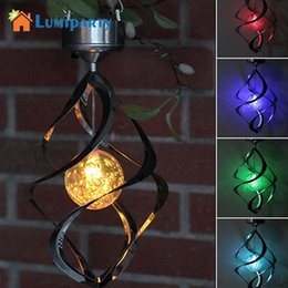 Wholesale Lighted Wind Chime - Wholesale- Lumiparty Solar Powered lights Wind Spinner LED Lamp Outdoor Hanging Wind Chime Light for Home Garden Lighting Decoration