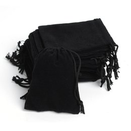 Wholesale Wholesale Velvet Jewelry Pouches - Free Shipping 100Pcs lot 7x9cm Portable Black Velvet Gift Pouch Small Jewelry Bag jewelry Packaging Pouch
