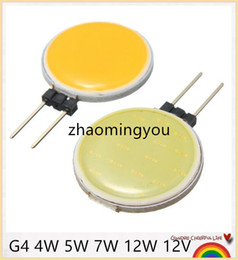 Wholesale G4 7w Cob Led - 10CS Lowest Price G4 COB DC12V 4W 5W 7W 12W Pure Warm White LED 15 18 30 63 Chips Replace Halogen Lamp Spot Light Bulb