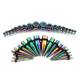 Wholesale Rainbow Ear Gauges Stretching Kit Surgical Steel Tapers and Plugs G G Pairs