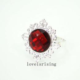 Wholesale Serviette Holders - 22 Colors Pick-100Pcs lot High Quality Crimson Red Acrylic Stone Silver Plated Vintage Style Serviette Holder Wedding Party Shower