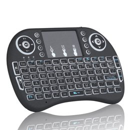 Wholesale Htpc Keyboard Mouse - Free shipping Rii mini i8+ Keyboard 2.4G Wireless Keyboard with Touchpad mouse Backlit Backlight for HTPC Laptop Tablet S905X S912 Mini PC